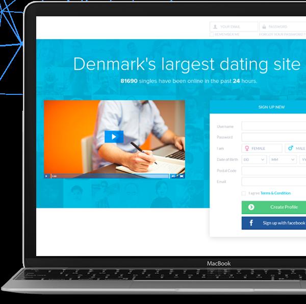 Landing of a dating website