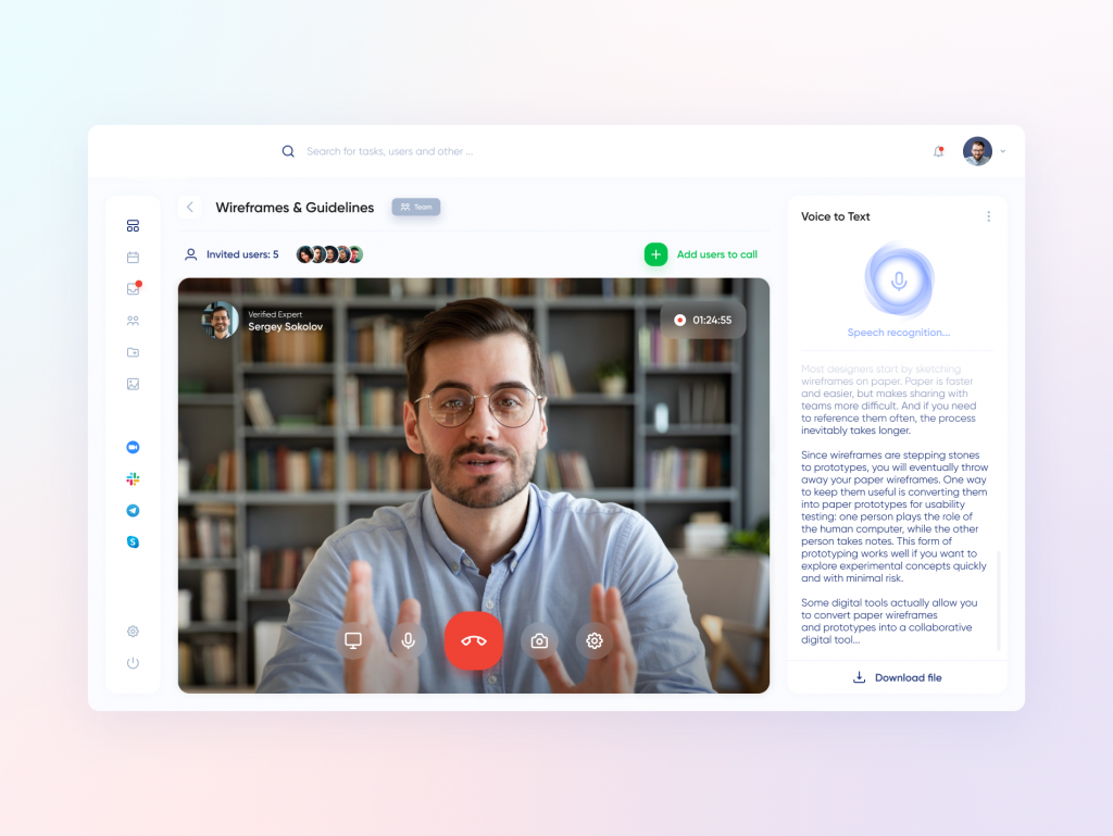 Video calls in online education marketplace with the function of voice-to-text converting